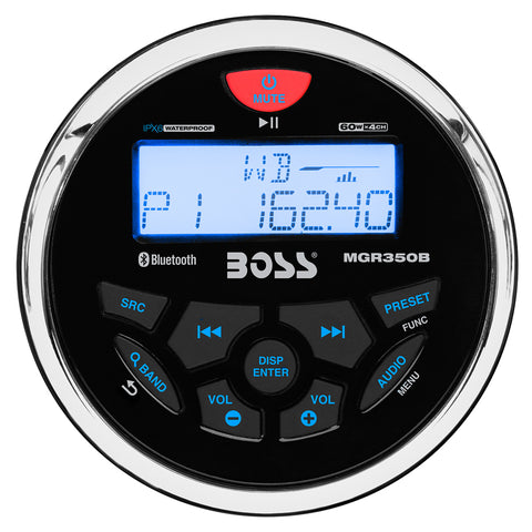 Boss Audio MGR350B Marine Gauge Style Radio - MP3/CD/AM/FM/RDS Receiver [MGR350B]