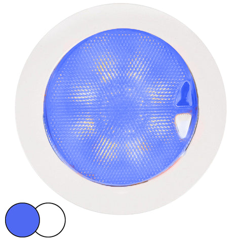 Hella Marine EuroLED 150 Recessed Surface Mount Touch Lamp - Blue/White LED - White Plastic Rim [980630202]