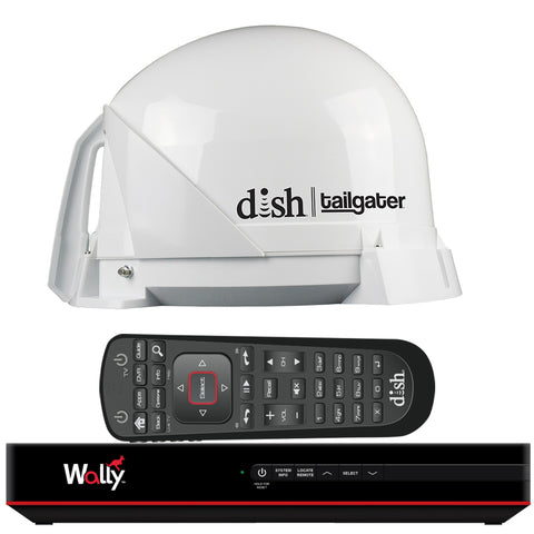KING DISH Tailgater Satellite TV Antenna Bundle w/DISH Wally HD Receiver  Cables [DT4450]