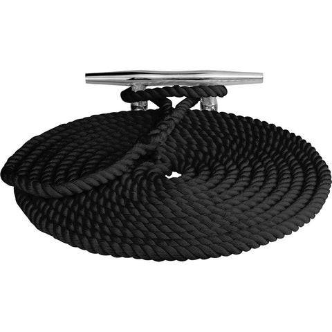 "Sea-Dog Twisted Nylon Dock Line - 5/8"" x 50 - Black [301116050BK-1]"