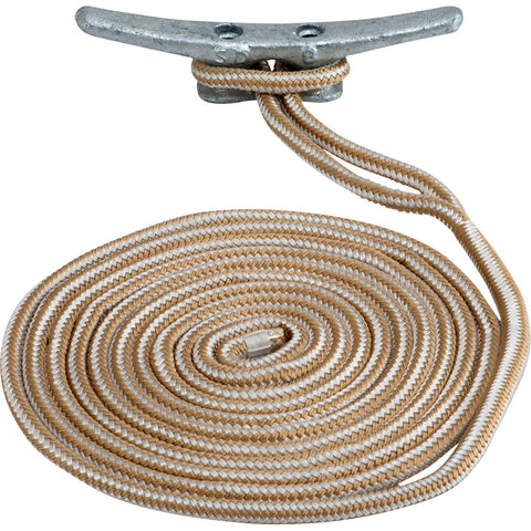 "Sea-Dog Double Braided Nylon Dock Line - 3/4"" x 25 - Gold/White [302119025G/W-1]"