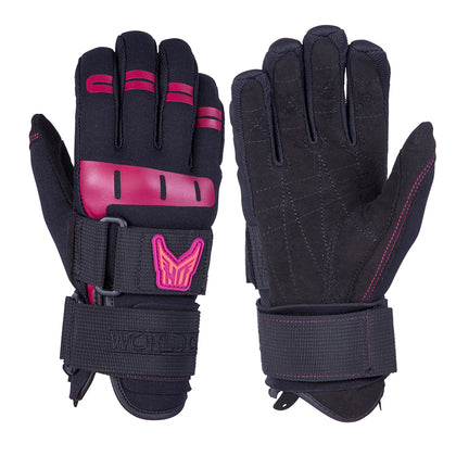 HO Sports Wakeboard Womens World Cup Gloves - Black/Pink - X-Small [86205022]