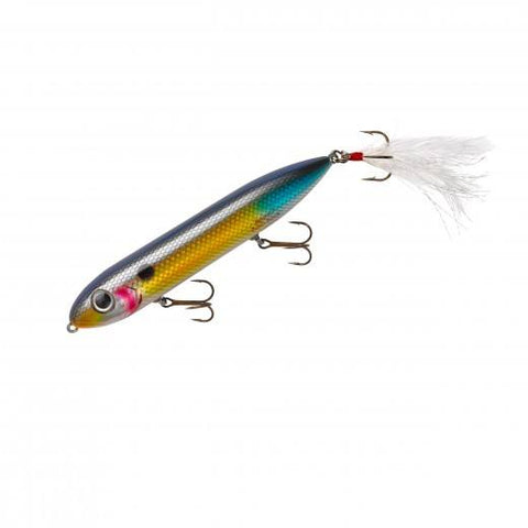 "Heddon Super Spook Feathered 5"" 7-8oz Wounded Shad"