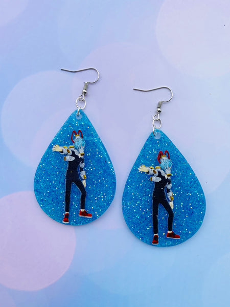 Blue Glitter Shiggy Earrings