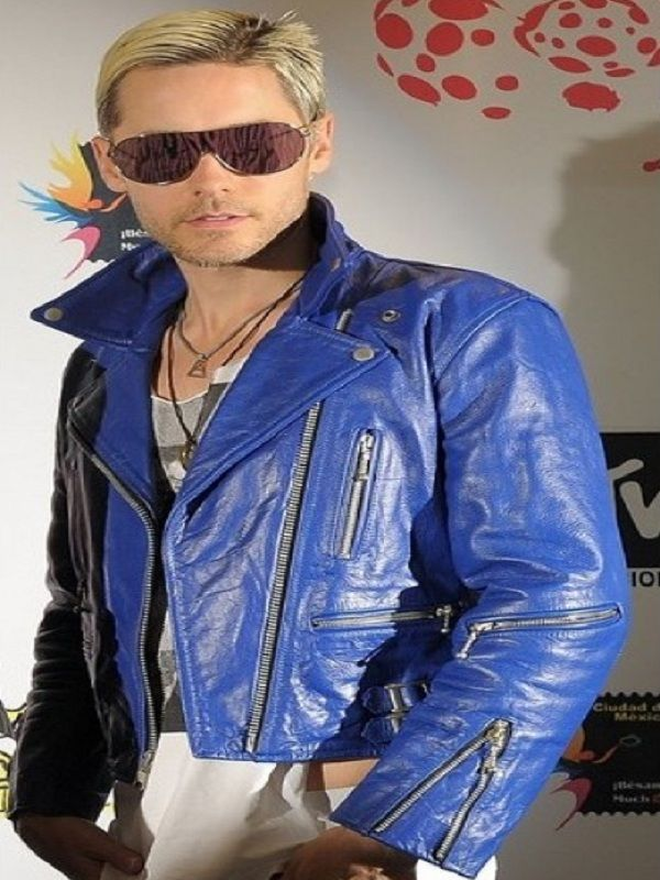 Jared Leto Blue Leather Jacket