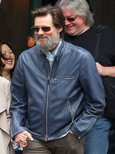 Jim Carrey Blue Leather Jacket - Wiseleather