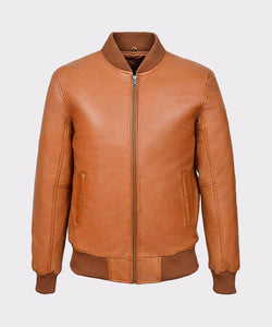 MEN'S TAN PLAIN NAPA WAX LEATHER BIKER JACKET - Wiseleather