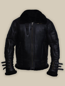 MEN BLACK BIKER SHEARLING JACKET - Wiseleather
