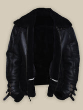 MEN BLACK BIKER SHEARLING JACKET
