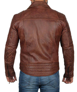 Frisco Dark Brown Quilted Asymmetrical Vintage Biker Leather Jacket - Wiseleather