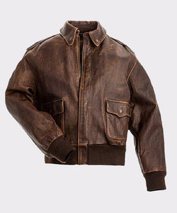 BROWN REAL LEATHER MENS BOMBER FLIGHT JACKET - Wiseleather
