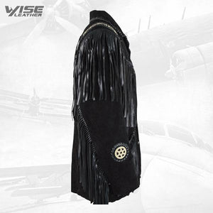BLACK BOAR SUEDE HAND LACED BEAD FRINGED JACKET TRIMMED COAT - Wiseleather