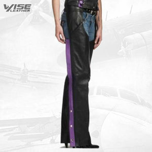 BLACK PURPLE STRIPE WOMEN'S PREMIUM LEATHER MOTORCYCLE CHAPS