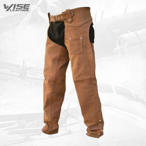 BUFF BROWN MENS PREMIUM BUFFALO NUBUCK LEATHER BIKER MOTORCYCLE CHAPS