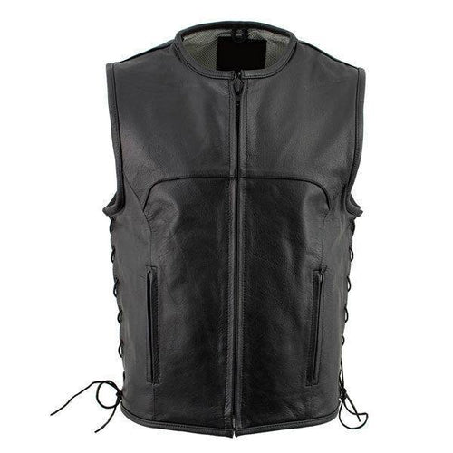 Black Advanced Collarless Leather Motorcycle Vest