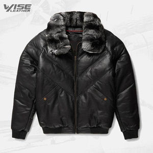 Black Leather Chinchilla Collar V Bomber Jacket - Wiseleather