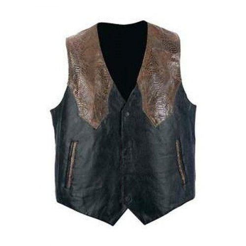 Black Motorcycle Style Leather Vest