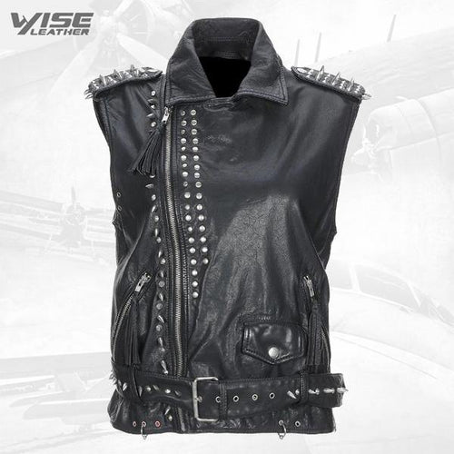 Black Calfskin Studded Biker Leather Vest