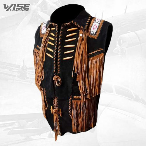 Black Cowboy Suede Leather Fringes, Bones & Beads Stylish Vest