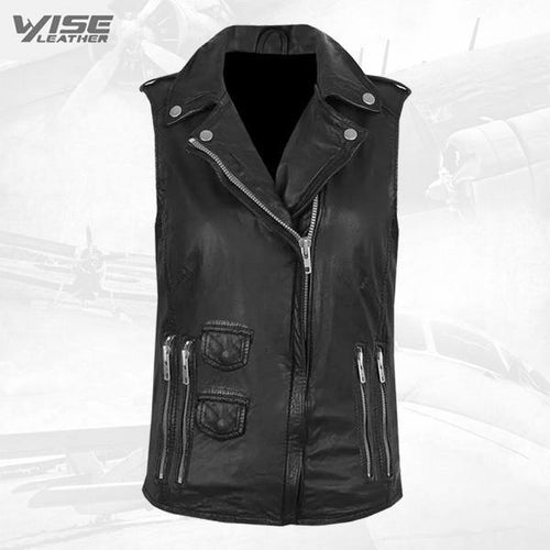 Black Genuine Leather Biker Vest