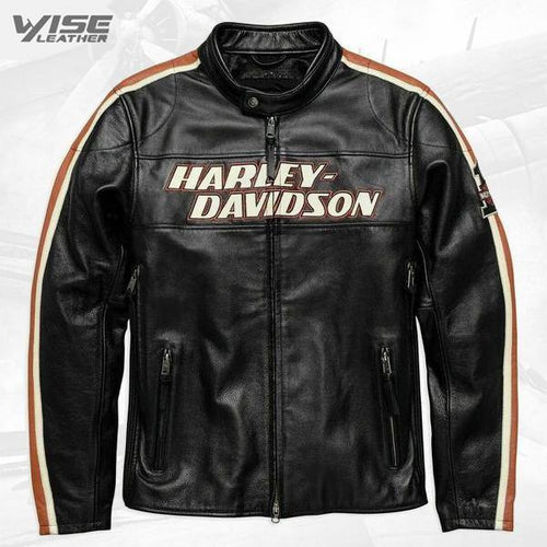 Black Harley Davidson Biker Motorcycle jacket Motor Biker Real Genuine Cowhide Leather Jacket