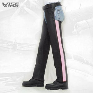 Black Pink Stripe Women's Premium Cowhide Chaps - Wiseleather