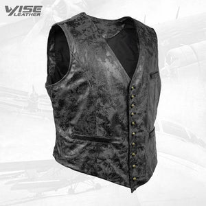 Black Victorian Steampunk Gothic Retro Wind Leather Cowboy Vest - Wiseleather