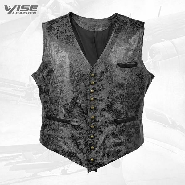 Black Victorian Steampunk Gothic Retro Wind Leather Cowboy Vest
