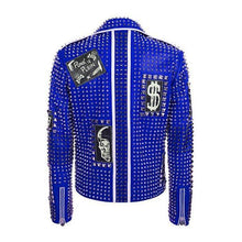 Blue Color Studded Punk Men Leather Fashion Jacket
