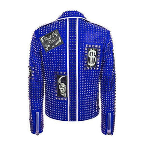 Blue Color Studded Punk Men Leather Fashion Jacket - Wiseleather