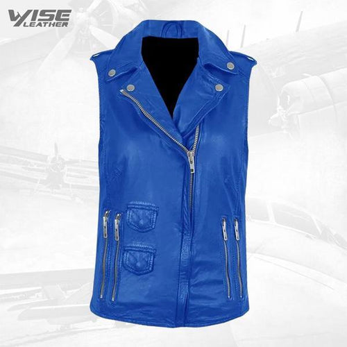 Blue Genuine Leather Biker Vest