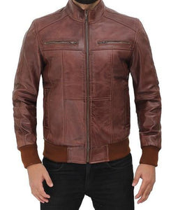Brown Leather Bomber Jacket for Men - Wiseleather