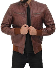 Brown Leather Bomber Jacket for Men