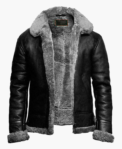BRAND NEW B3 BOMBER LEATHER JACKET WITH FUR