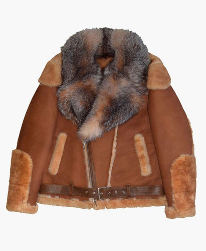 BROWN PILOT MENS LEATHER JACKET WITH FUR