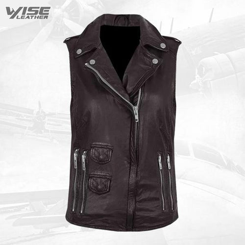 Brown Genuine Leather Biker Vest
