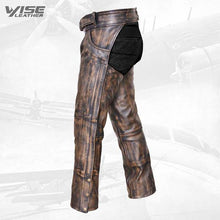 Brown Mens Distressed look Leather Motorcycle Biker Chaps with Jeans Pocket