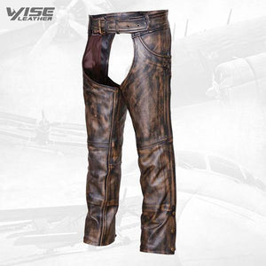 Brown Mens Distressed look Leather Motorcycle Biker Chaps with Jeans Pocket - Wiseleather