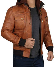 Mens Brown Leather Bomber Jacket With Hood
