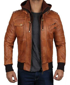 Mens Brown Leather Bomber Jacket With Hood - Wiseleather