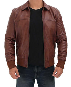 Steven Brown Leather Bomber Jacket Mens - Wiseleather