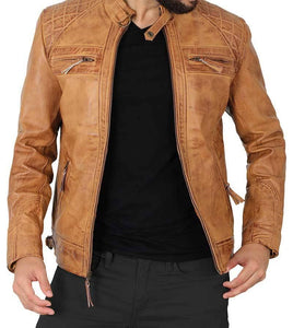 Quilted Brown Camel Distressed Leather Jacket for Men - Wiseleather