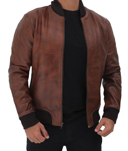 Mens Distressed Brown Bomber Leather Jacket - Wiseleather