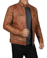 Brown Four Pocket Distressed Snap Collar Leather Cafe Racer Jacket