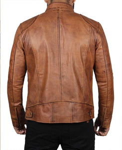 Brown Four Pocket Distressed Snap Collar Leather Cafe Racer Jacket - Wiseleather