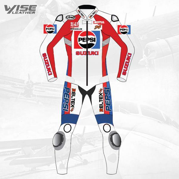 CLASSIC PEPSI SUZUKI LIMITED EDITION MOTORCYCLE RACE LEATHER SUIT