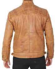 Quilted Brown Camel Distressed Leather Jacket for Men