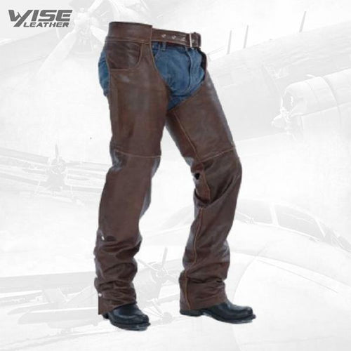 Chocolate Brown Unisex Premium leather Chaps Jean Pockets