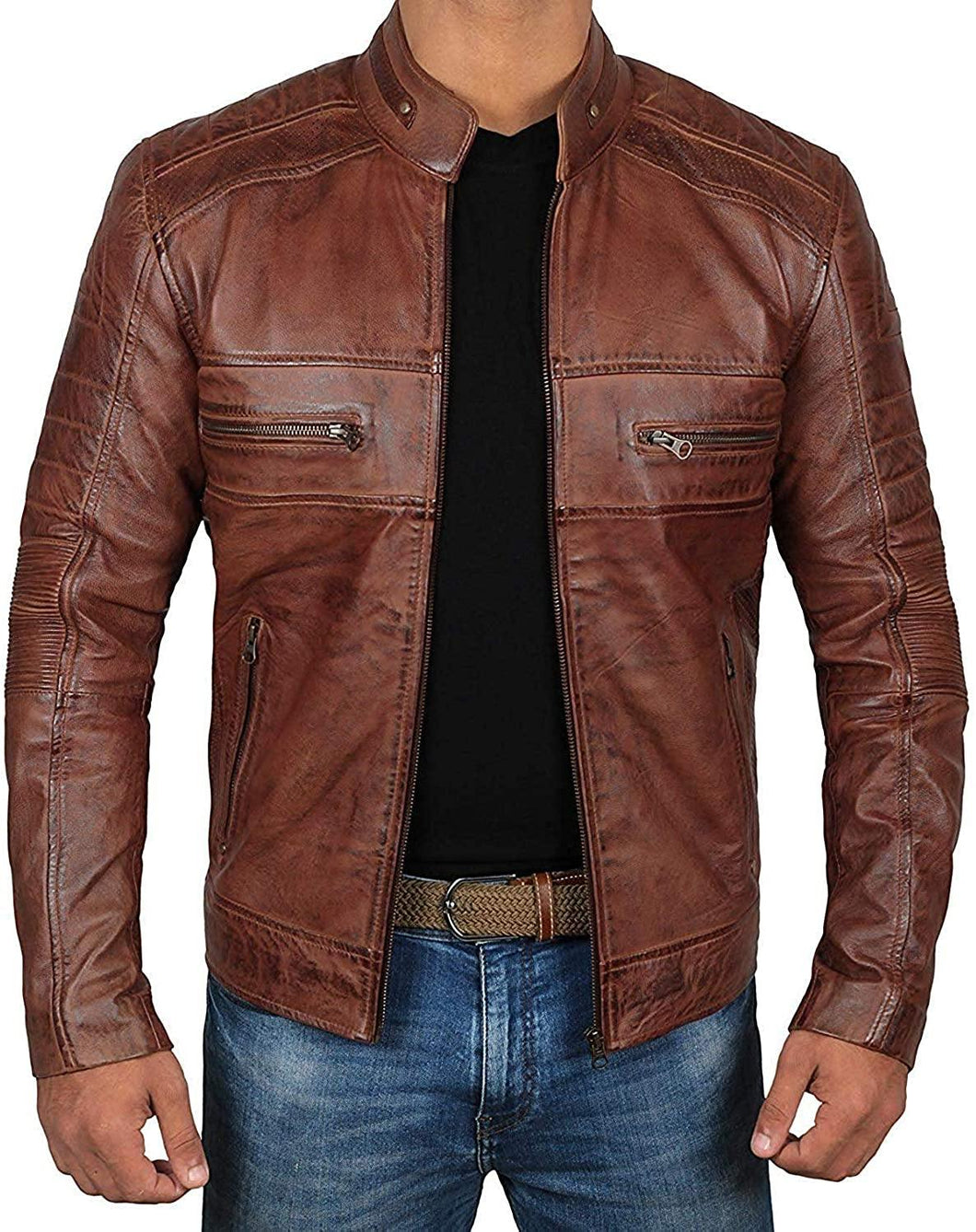 Chocolate Brown Waxed Mens Perforated Leather Jacket With Zipper Cuff