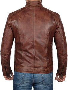 Chocolate Brown Waxed Mens Perforated Leather Jacket With Zipper Cuff - Wiseleather